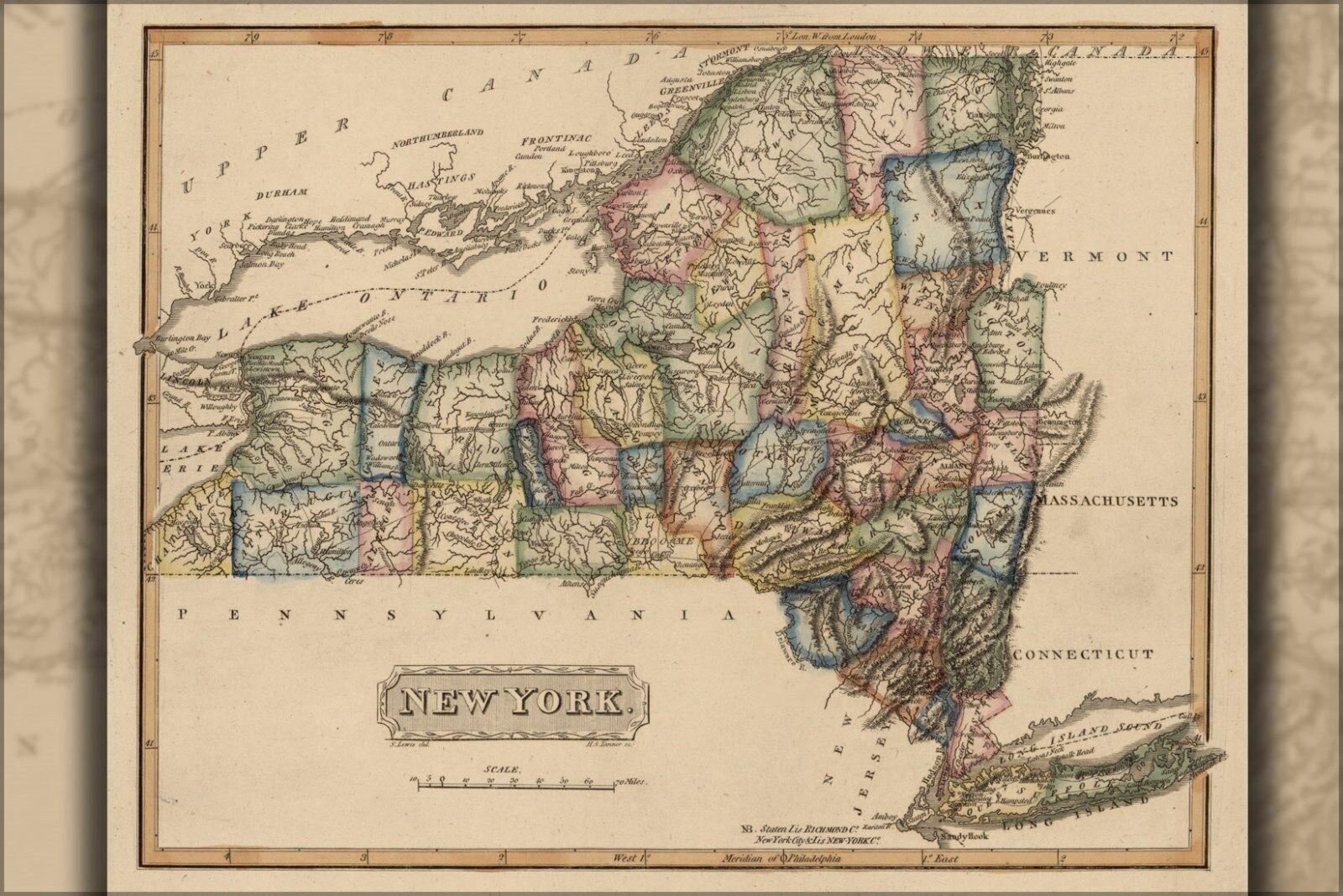 Plakat, Viele Größen; Karte von New York Stateroom