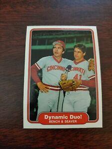 1982 Fleer dynamic duo Tom Seaver Johnny Bench #634 Cincinnati Reds NM/MT