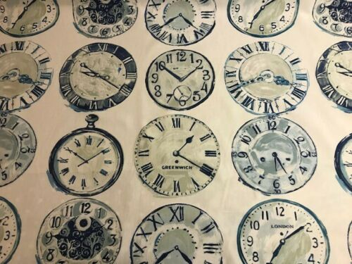 prestigious textiles greenwich clock fabric blue curtains blind uphostery new