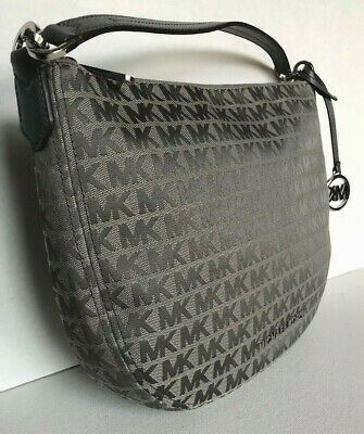 New Michael Kors Bedford Medium Crescent Shoulder Bag Jacquard Heather Grey 192877717393 | eBay