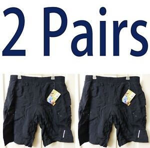 2-PAIR-Mens-Small-MEDIUM-Schwinn-MOUNTAIN-BIKE-SHORTS-Pockets-BLACK-PADDED-Baggy