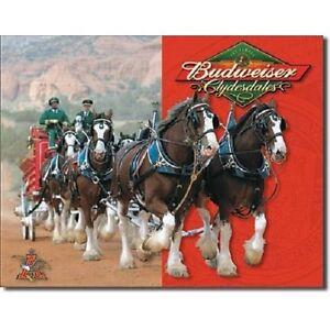 Anheuser Busch Budweiser Beer Bud Clydesdales Bar Made USA 16x12 Metal Tin Sign
