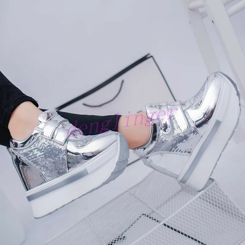 New Womens Platform Casual Sneakers Sneakers Sneakers Shinny Creeper Sport shoes Sneakers High Top 1a213e