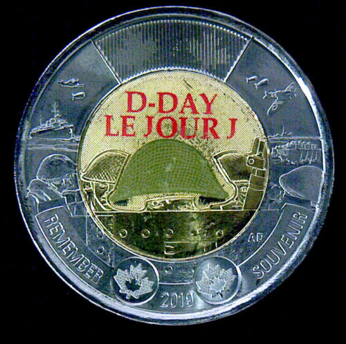 Toonie color from roll $2   UNC 2019 Canada  D-Day