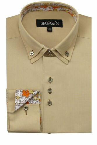 Double Layered Collar Details about  /Men/'s Dress Shirt Square Button Design Georg Style# A610