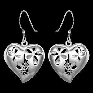 Stunning-925-Sterling-Silver-Filled-Hollow-Filigree-Heart-Flower-Hook-Earrings