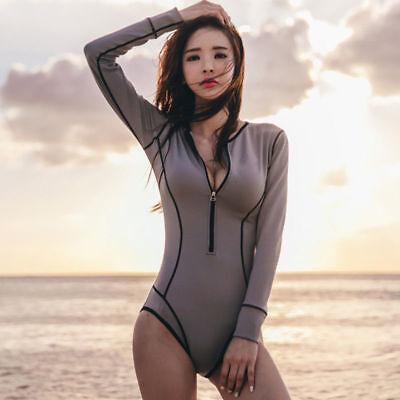 Ladies Women One Piece Swimsuit Long Sleeve Surfing Swimwear Swimming Costumes
