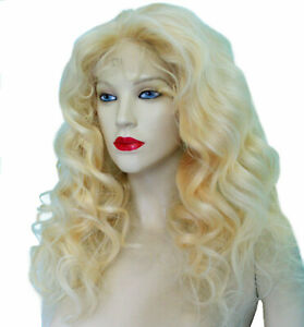 HUMAN-HAIR-Indian-Remi-Remy-Full-Lace-Wig-Blonde-Wavy-Body-Wave-Long-Premium