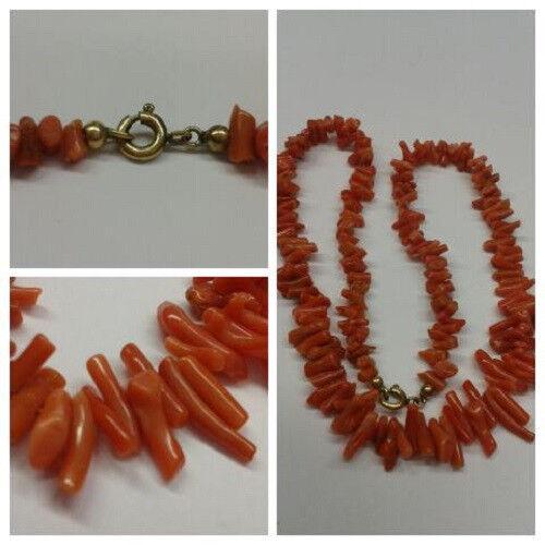 Très Jolie Style Ancien collier de corail Corail Collier 36 cm long