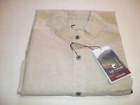 Small Lee Valley Grandfather Collarless Shirt Natural Linen Cotton Blend S