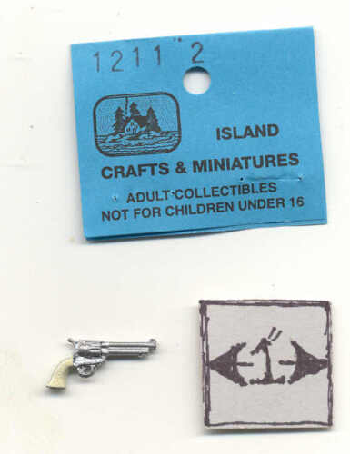 Pistol handgun dollhouse miniature ISL1213 metal casting 1//12 scale Police