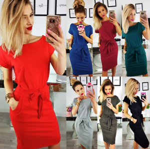 Women-Solid-Pockets-Slim-Pencil-Dress-Bodycon-Casual-Short-Sleeve-Party-Cocktail