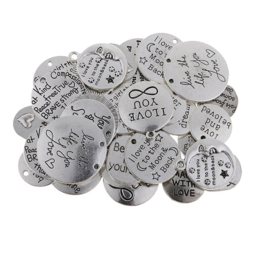 34x Silver Words Tags Charms For Jewelry Making Craft Cards Pendants Earring