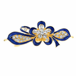 Ladies-Metal-Royal-Blue-Floral-Decor-French-Clip-Hairclip