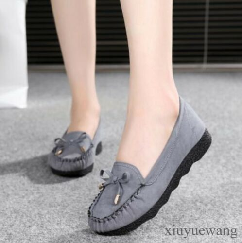 New Women Bowknot Moccasin Gommino Casual Flats Shoes Faux Suede Slip on Loafers