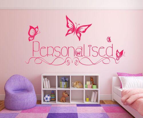 art Autocollant TOUTE COULEUR Papillons /& Custom Personnalisé Filles mur autocollant nom.