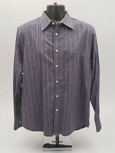 Robert-Graham-Men-039-s-Shirt-Size-Large-Gray-Purple-Striped