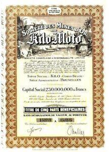RAREST COLOR! FAMOUS BELGIAN CONGO GOLD MINING BOND w BLACK MINERS! CV $60 Read!