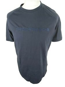 Mens-The-North-Face-T-Shirt-Raised-Logo-Blue-Large-42-Chest