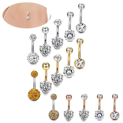 5x//Set Stainless Steel Crystal Navel Belly Button Rings Bar Piercing Jewelry od