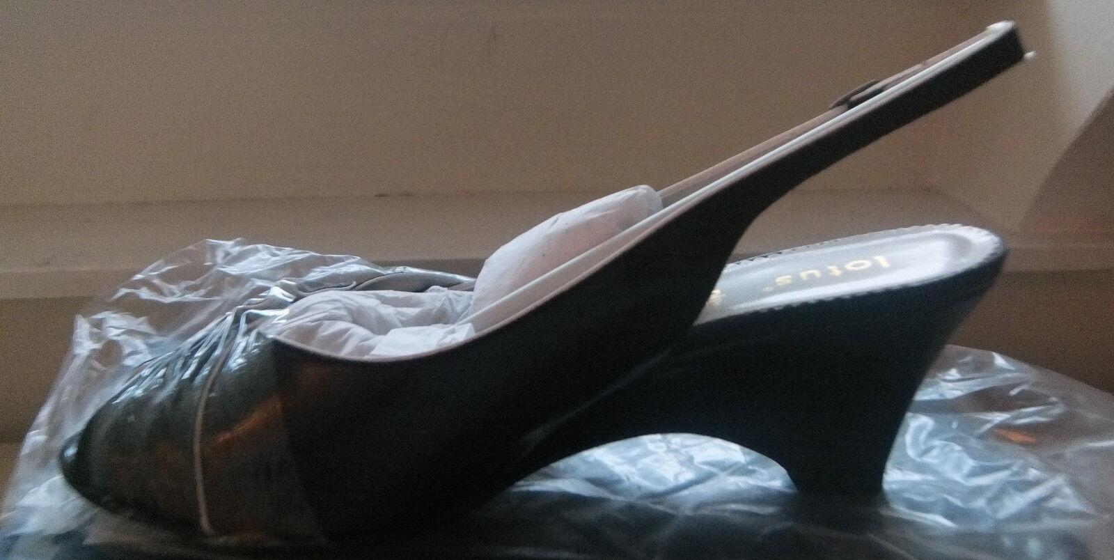 Vendita Nuovo Scarpe A Punta Aperta Aperta Aperta Nero N Bianco UK9 EE Larghezza, NUOVO, in scatola 245f97