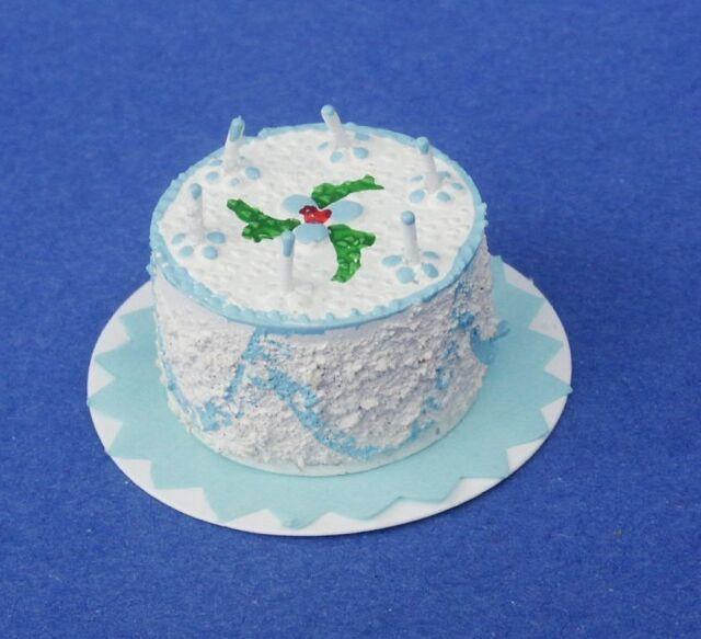Miniature Dollhouse Blue Birthday Cake 112 Scale New