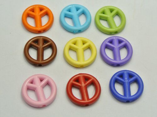 100 Mixed Bright Color Acrylic Peace Sign Charm Beads 15mm