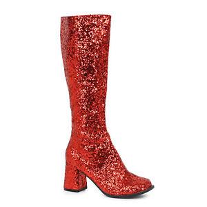Ellie GOGO-G Red Glitter 3 inch Heel Glitter Women's Costume Gogo Boot W/Zipper