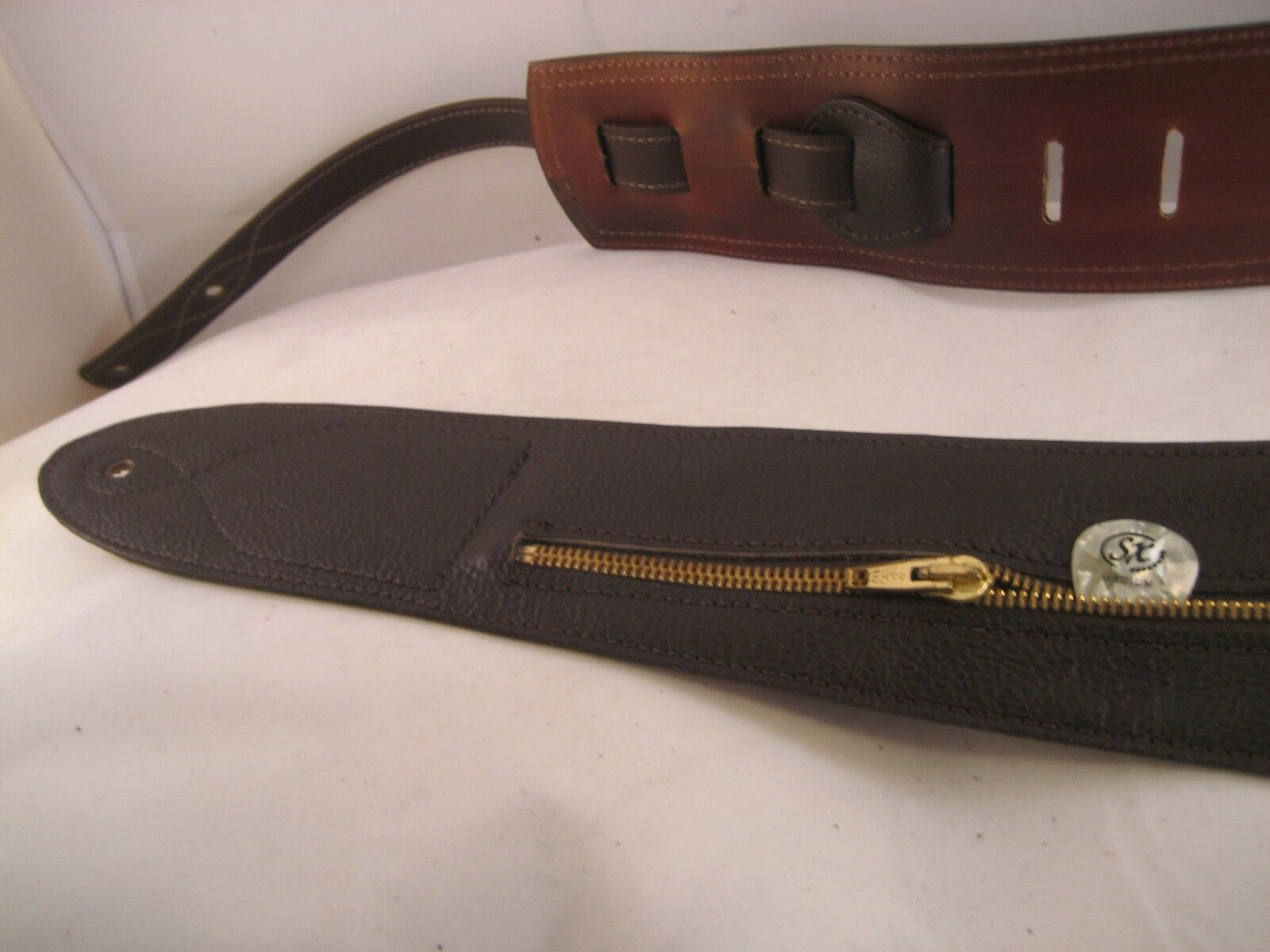 UNIQUE LEATHER braun WITH ZIP POCKET GUITAR BASS STRAP