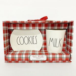 Rae-Dunn-Cookies-and-Milk-Set-Solid-White-with-Red-NEW-Santa-Christmas-Pottery