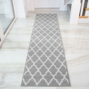 Details About Grey Taupe Trellis Runner Rug For Hall Long Narrow Geometric Hallway Runners Uk