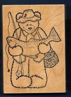 Fisherman Bear Fish Salmon 1994 Darcie's Country Folk R0672 Large Rubber Stamp