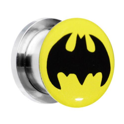 Túneles De Acero Crescent Gem golondrinas Ventilador Batman Plug Expansor de forma cónica del oído estirada
