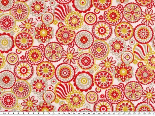 Blumen natur-rot Sommerschlussverkauf: Sommerlicher Baumwolldruck 140cm