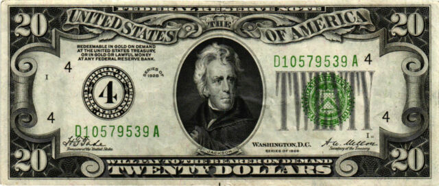 1928 $20.00 Federal Reserve Note - Andrew Jackson - D10579539A - XF Bright