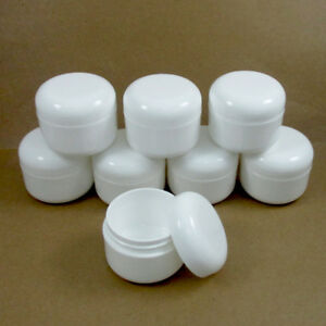 8-White-1-7-Oz-Plastic-Cosmetic-Double-Wall-Cream-Empty-Dome-Jars-Container-Cap