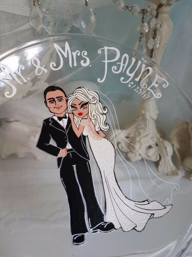 Personalised Hand Painted Wedding Plate Ring Dish Wedding Lace gift anniversary.