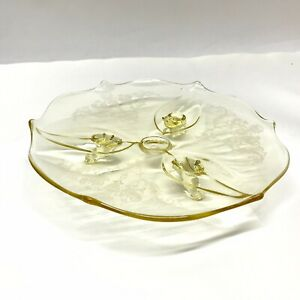 Yellow-Depression-Glass-Footed-Plated-Etched-Vintage