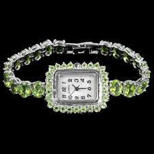 Sterling Silver 925 Genuine Natural Apple Green Peridot Watch 7 Inches