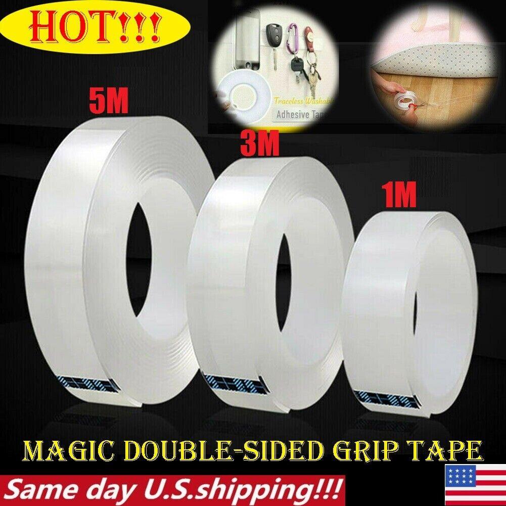 Magic Double-sided Tape Traceless Washable Adhesive Tape Nano Invisible Gel b15