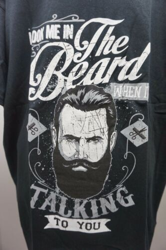 LOOK ME IN THE BEARD WHEN IM TALKING TO YOU T SHIRT BLACK SIZE LARGE FUNNY