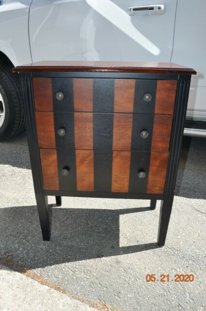 PIER 1 3 DRAWER CABINET USED SMALL 2 TONE WOOD BLACK BROWN ...