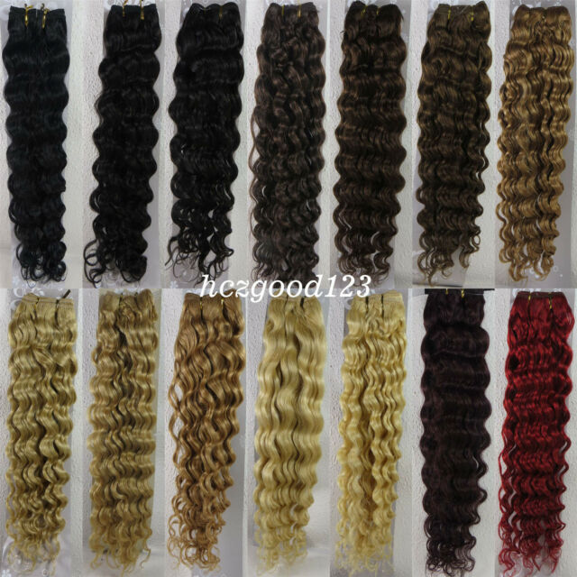 "Width 59"" Remy Deep Curly Weft Weave Human Hair Extensions 100g All Color 18-26"""