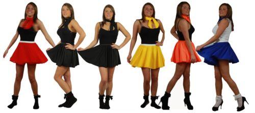 """Cheerleader 15/"""" Skater Skirt All Colours Fancy Dress 60s 70s Roller Girl"""