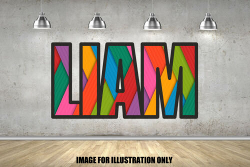 Rainbow Laces 3D Personalised Border Name Children Wall Stickers Transfer Decal