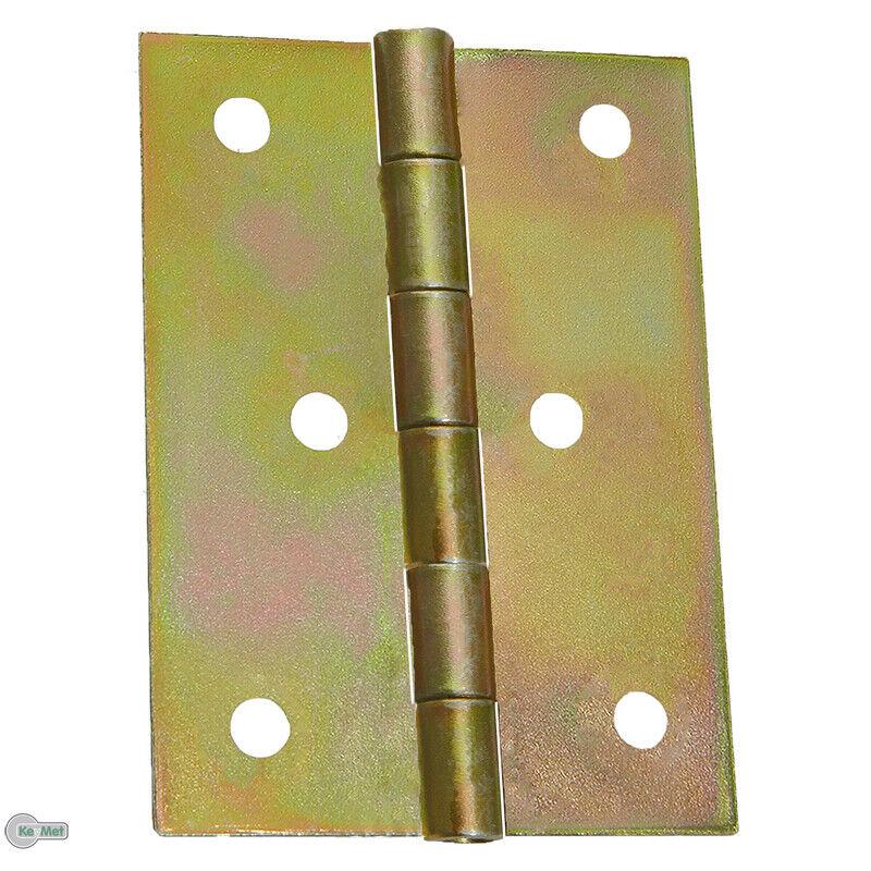 20 Kantige Scharniere Türband Türscharniere 100 x 100 x 2,0 mm Gelb Verzinkt