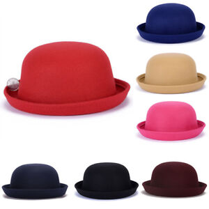 2f27d07bfc18f US Women Bowler Hats Children Kids Girls Derby Caps Warm Bucket ...