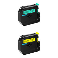 2pk Compatible For Brother P Touch 12mm Label Tape M K631 M K731 Yellowgreen
