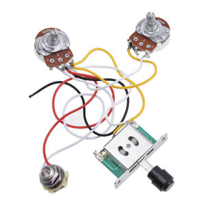 Guitar-Prewired-Wiring-Harness-for-Fender-Tele-Parts-3-Way-250K-Pots-Jack