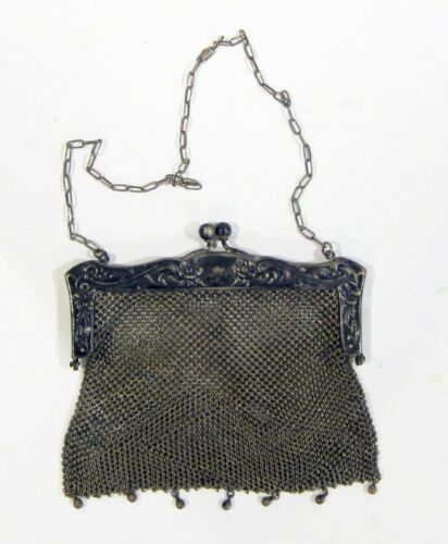 Antique German Silver Chain Mesh Purse - Marked In